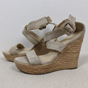 Marc Fisher Mfhaely Cream Suede Open Toe Wedge 7.5